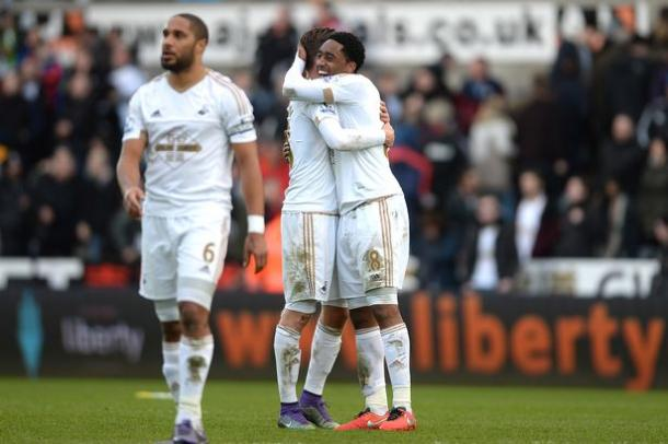 Leroy Fer (right) has been enjoying his time in South Wales. (Photo: Huw Evans Picture Agency)
