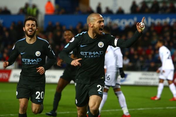 Silva celebra su primer gol del partido. Foto: Getty Images