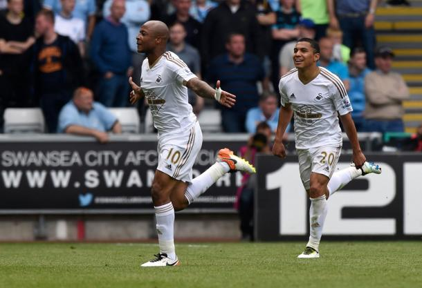 If Ayew is leaving, he leaves with a bang having scored his 12th of the season in the final game of the season. (Photo: Reuters)