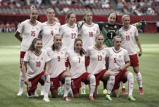 Switzerland before their match against Japan in Group C of the 2015 Women's World Cup | Source: Rich Lam - Getty Images