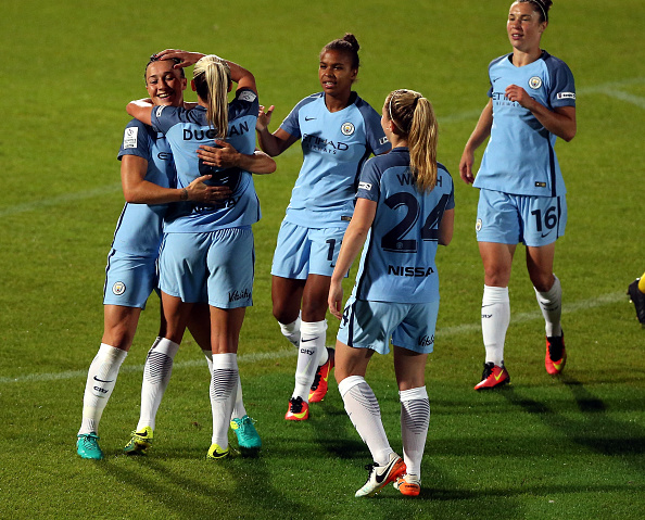 City celebrate against Doncaster. | Image credit: Nigel Roddis - The FA/The FA via Getty Images