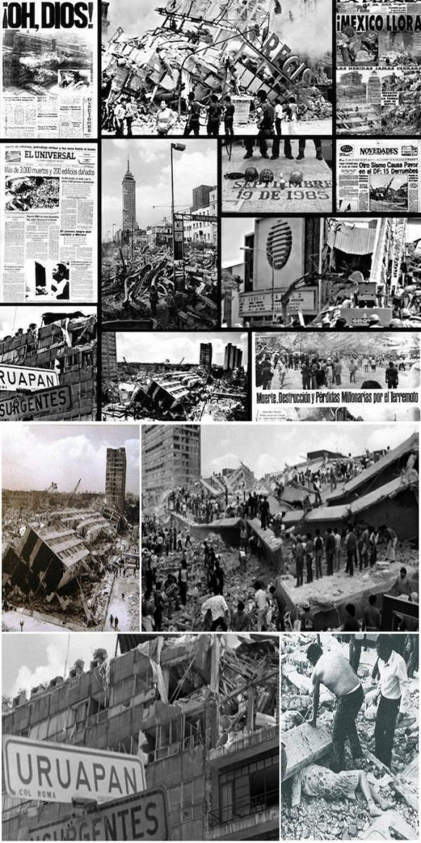 Terremoto de México 1985   Collage: CDMX