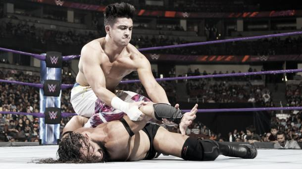 TJP looked to get one over the champion. Photo- WWE.com