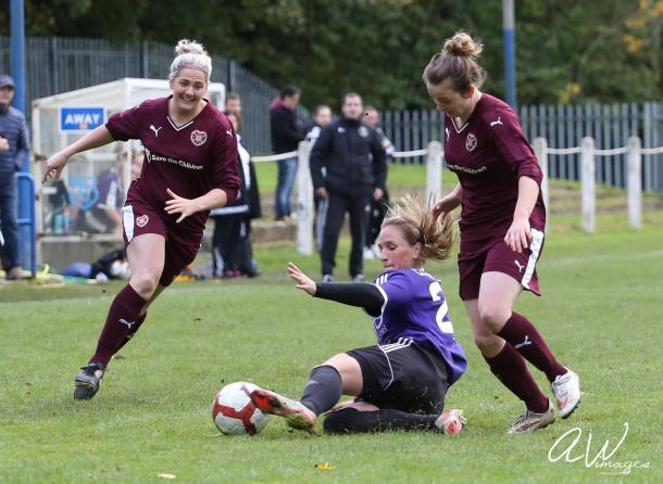 Photo: Aaron Wilson. Hearts drew with Glasgow Girls on 23 Oct 2016, a result neither side wanted