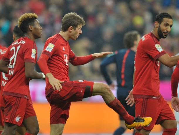 Bayern celebrate their second goal of the game. | Image source: kicker - Getty Images