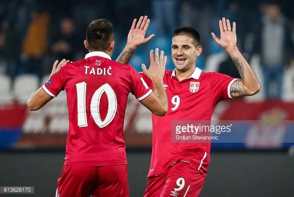 Tadic celebrates a goal on National Service.