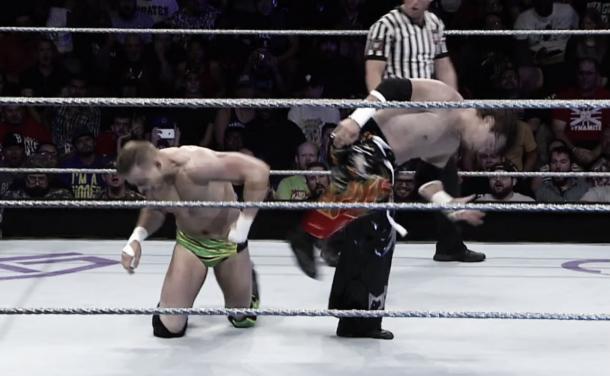 Tajiri delivers the fatal Buzzsaw Kick to Slater (image: WWE Network.com)