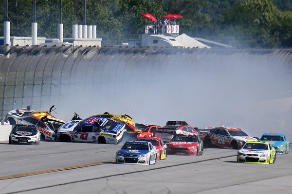 The field wrecks late in the race. (Jerry Markland/Getty Images)