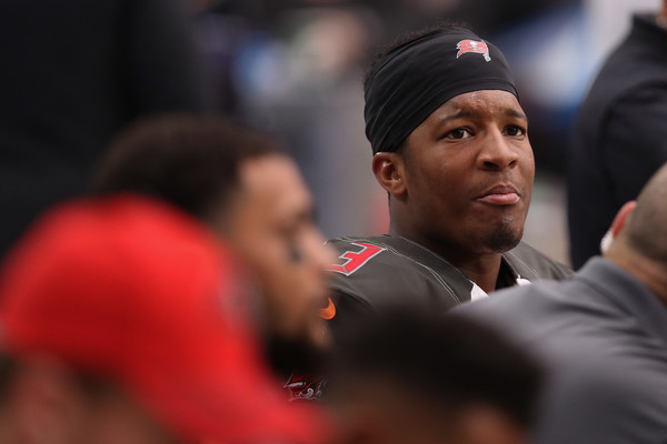 Quarterback Jameis Winston #3 of the Tampa Bay Buccaneers sits on the bench during the NFL game against the Arizona Cardinals at the University of Phoenix Stadium. |Source: Christian Petersen/Getty Images North America|