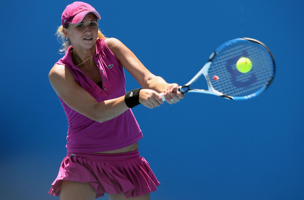 Golovin in action at the 2008 Australian Open, the last time she appeared at a Grand Slam tournament (Getty Images/Robert Presiozo)
