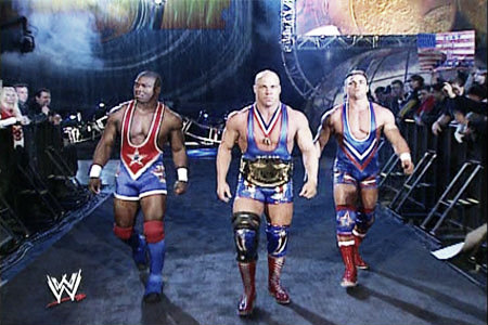 The original team angle of Shelton Benjamin and Charlie Haas captained by Kurt Angle (image: Thewrestlingzone.com)