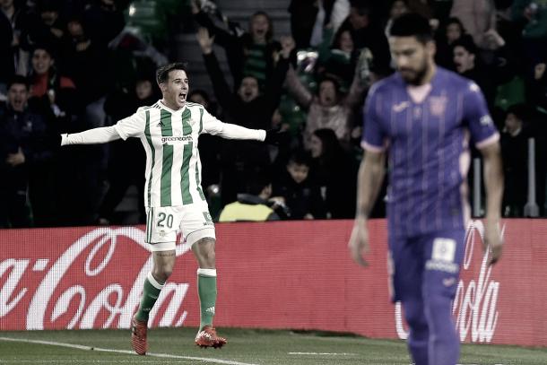 Tello celebrando el gol contra el Leganés | Foto: Real Betis