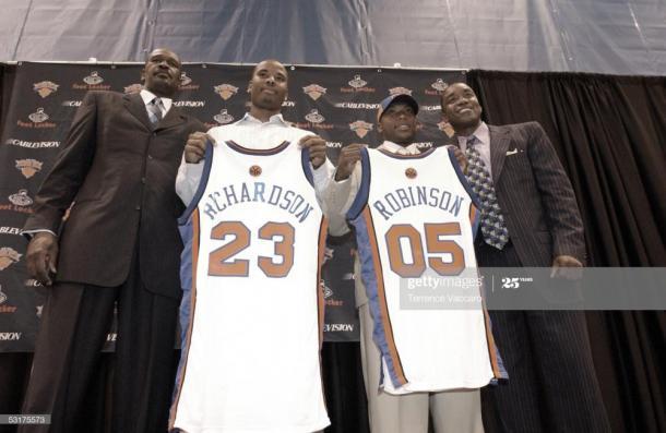 Robinson junto a Richardson, siendo presentados por los Knicks   Foto: Vaccaro, GettyImages