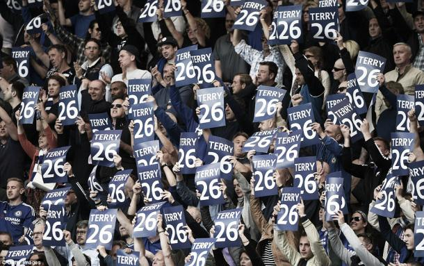 Chelsea fans showing their appreciation for John Terry in Chelsea's 1-1 draw with Leicester City | Photo: Getty Images