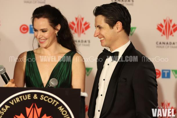 After posing for pictures with their star, Virtue and Moir spoke with etalk's Lainey Lui, where they discussed how surreal the whole moment felt, and had a chance to reflect on their incredible year and 21-year partnership.