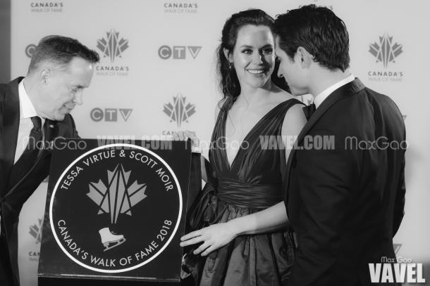 Virtue and Moir, who have skated together for more than two decades and have been through everything one could possibly imagine, were noticeably touched by their official star, exchanging glances as they took a moment to marvel at the magnitude of this occasion.