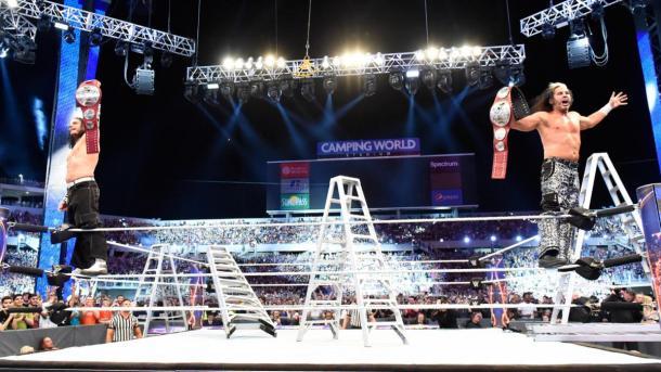 The Hardy Boyz won the Raw tag-team titles in Orlando in a ladder match (image: wwe,com)