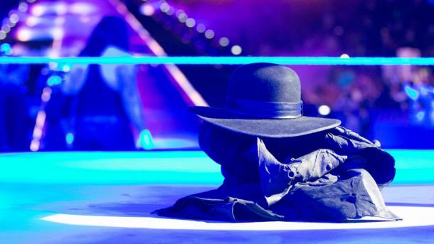 The final image of The Undertaker at WrestleMania 33 following his match with Roman Reigns (image: wwe)