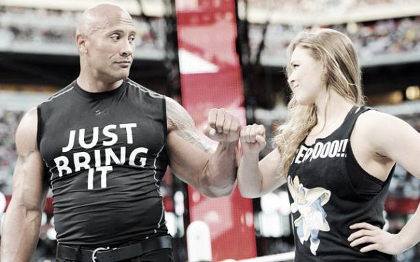 The Rock and Ronda Rousey both appeared at WrestleMania 31 (image: cbssports.com)