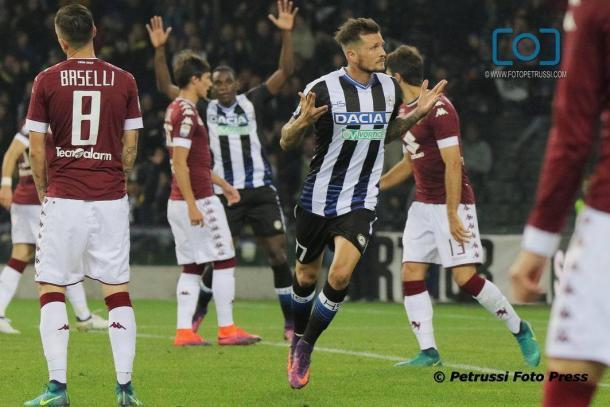Thereau, autore di una delle due reti del match dell'andata. Fonte: www.facebook.com/UdineseCalcio1896