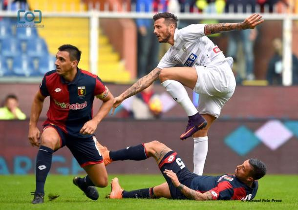Thereau segna il gol dello 0-1 nell'andata con il Genoa. Fonte: www.facebook.com/UdineseCalcio1896