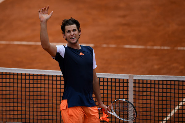 Dominic Thiem celebrates his upset of Rafael Nadal in Rome. Photo: Gareth Copley/Getty Images