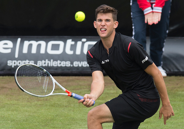 Thiem plays a forehand during an early round match. Photo: Getty Images