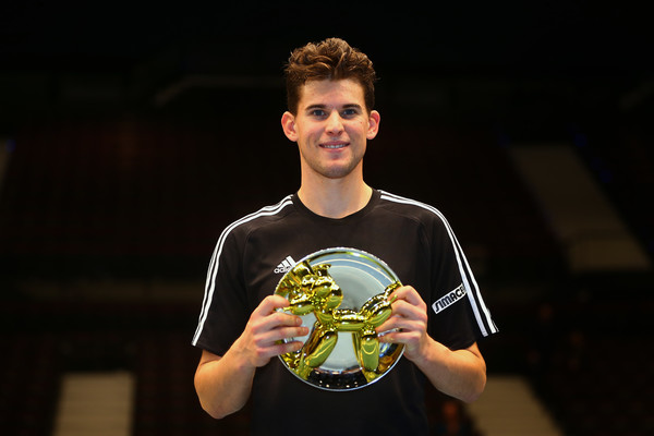 Dominic Thiem holds his Tie Break Tens trophy last month. Photo: Jordan Mansfield/Getty Images