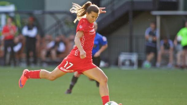 Portland's Tobin Heath leads the league in assists with three thus far. Photo provided by Craig Mitchelldyer.