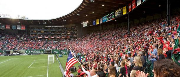 The Thorns faithful came to Providence Park to celebrate and cheer their club for the first time in over a month on Saturday. Photo provided by Craig Mitchelldyer