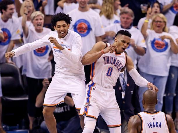 Cameron Payne and Russell Westbrook were jubilant (Photo: Kevin Jairaj, USA Today Sports)