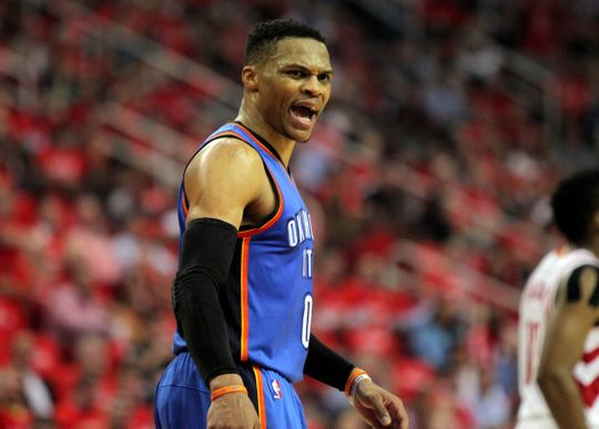 Oklahoma City Thunder guard Russell Westbrook during the game. Photo by:Erik Williams-USA TODAY Sports