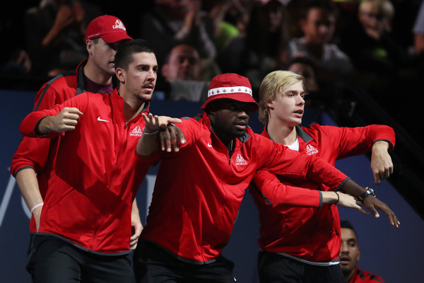 Photo Source: Julian Finney/Getty Images Europe-John Isner, Thanasi Kokkinakis, Frances Tiafoe and Denis Shapovalov cheer on their teammate during a Laver Cup match.