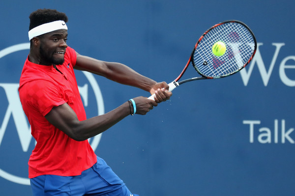 Frances Tiafoe hits a backhand in Cincinnati. Photo: Rob Carr/Getty Images