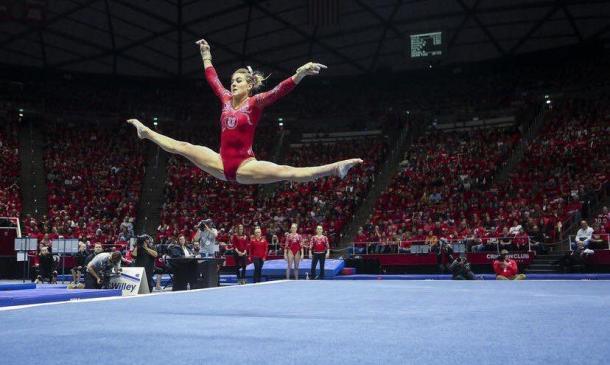 Tiffani Lewis performs on floor exercise for Utah against UCLA in Salt Lake City/Utah Athletic
