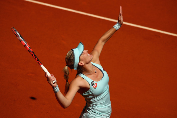 Timea Babos in Mutua Madrid Open action. Photo: Clive Brunskill/Getty Images
