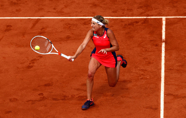 Timea Bacsinszky hits a forehand volley | Photo: Adam Pretty/Getty Images Europe