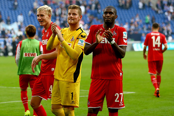 Horn and Modeste celebrate Cologne's win - Schalke | Photo: Bongarts