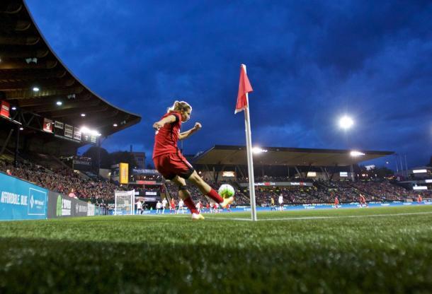 Tobin Heath sends in a cross during the game against the Washington Spirit | courtesy Portland Thorns Twitter - @ThornsFC (photo credit to Craig Mitchelldyer)