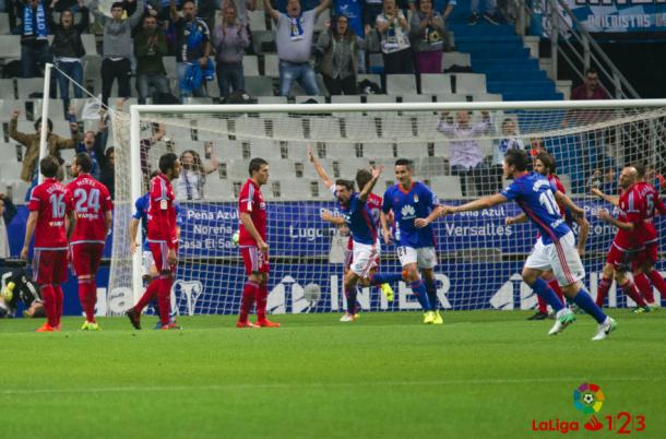 Toché celebrando su gol frente al Zaragoza | Foto: La Liga 1|2|3