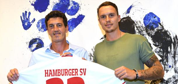 Jens Todt and Bjarne Thoelke - Karlsruhe reunited. | Photo: Hamburger SV.
