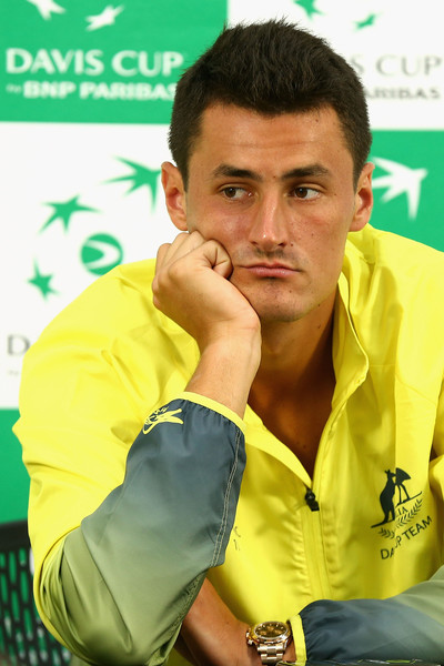 Tomic looks on during a Davis Cup press conference. Photo: Robert Prezioso/Getty Images