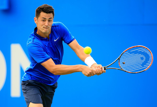 Bernard Tomic hits a backhand during his quarterfinal win. Photo: Getty Images