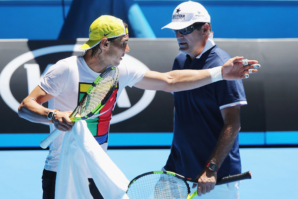 Rafael Nadal (left) and Toni Nadal during practice at the Australian Open. Photo: Michael Dodge/Getty Images