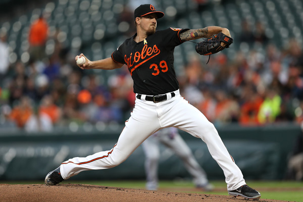 Orioles starter Kevin Gausman threw a solid 115 pitches in his outing against the Blue Jays, recording eight strikeouts and allowing five hits over six-plus innings. | Photo: Patrick Smith/Getty Images
