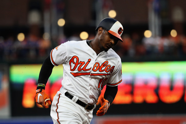 Adam Jones of the Baltimore Orioles rounding the bases after hitting a two-run homer in the first inning. | Photo: Rob Carr/Getty Images