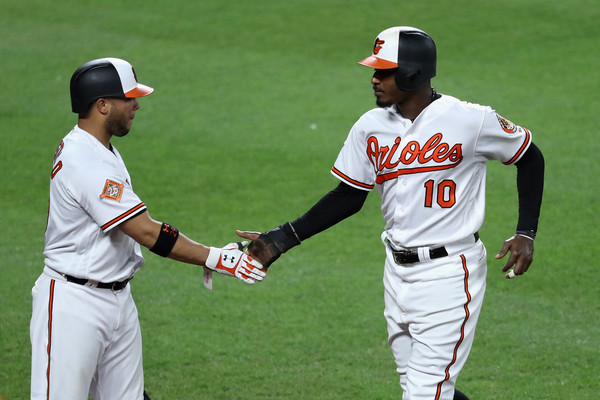 Adam Jones (R) celebrates with teammate Welington Castillo after scoring a run in the third inning off an RBI single from Mark Trumbo. | Photo: Rob Carr/Getty Images