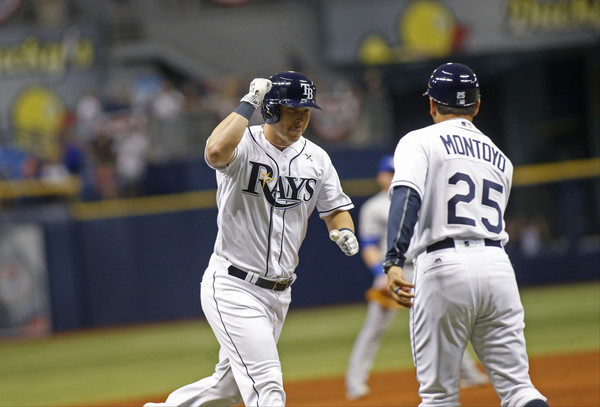 Corey Dickerson after his solo home run in the fourth (Brian Blanco/Getty Images North America)