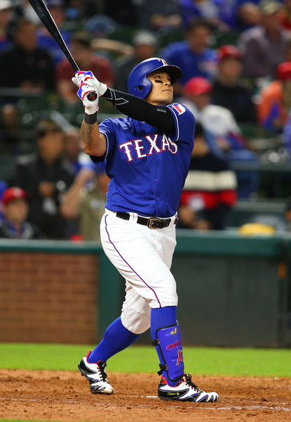 Shin Soo-Choo hits a home run in the sixth inning. | Photo: Rick Yeatts/Getty Images