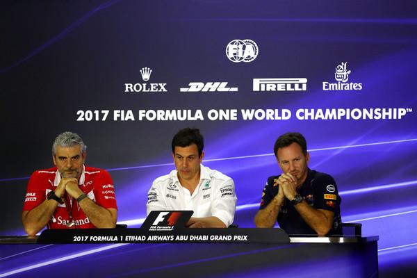 Los jefes de equipo de Ferrari, Mercedes y Red Bull durante el GP de Abu Dhabi. Fuente: Getty Images